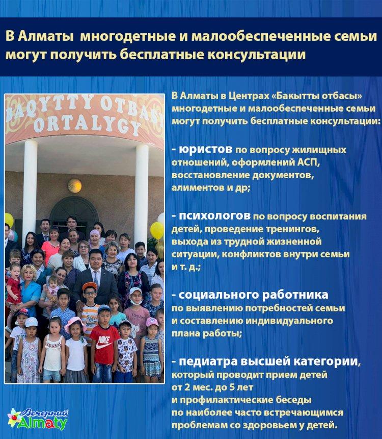 В Алматы многодетные и малообеспеченные семьи  могут получить бесплатные консультации