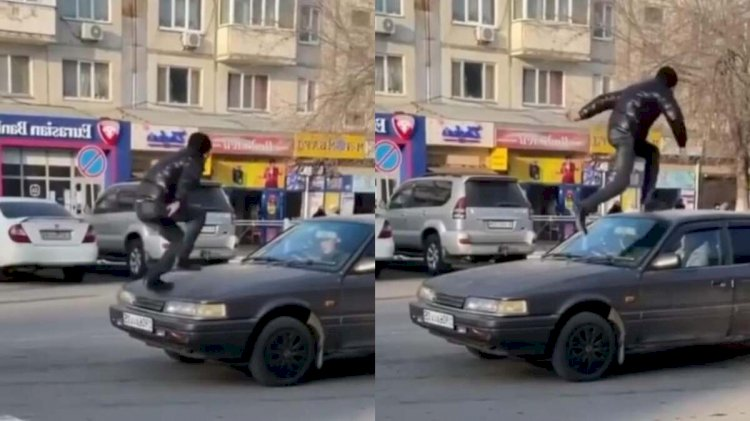 Пранкера, пробежавшего по машине, нашли и наказали в Капшагае