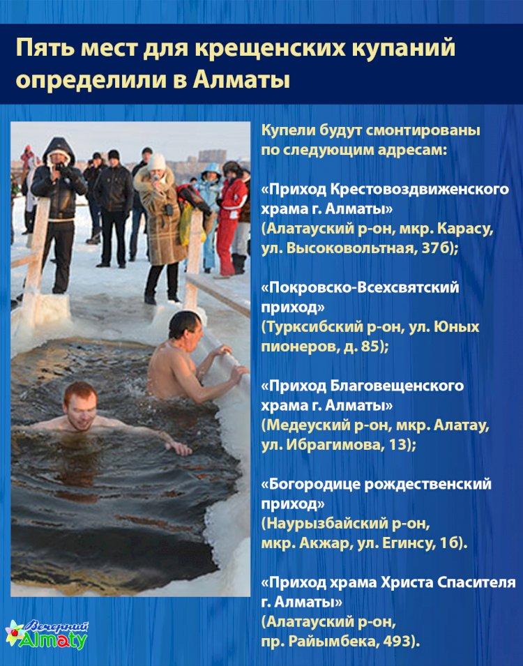 Пять мест для крещенских купаний  определили в Алматы