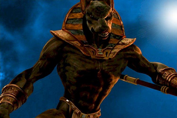 Изображение древнеегипетского бога смерти на мобильном пункте тестирования на ковид – фейк