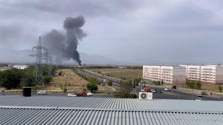 Склад горит в Алматинской области